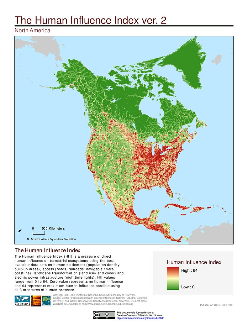 human influence index v2 north america
