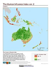 Map: Human Influence Index, v2: Oceania
