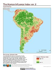 Map: Human Influence Index, v2: South America