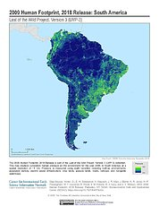 Map: Human Footprint (2009): South America